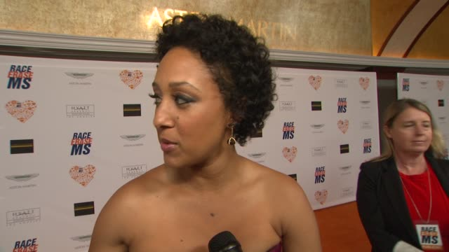 interview tamera mowry on being a part of the night what she's most looking forward to at the 21st annual race to erase ms in los angeles ca - tamera mowry stock videos and b-roll footage