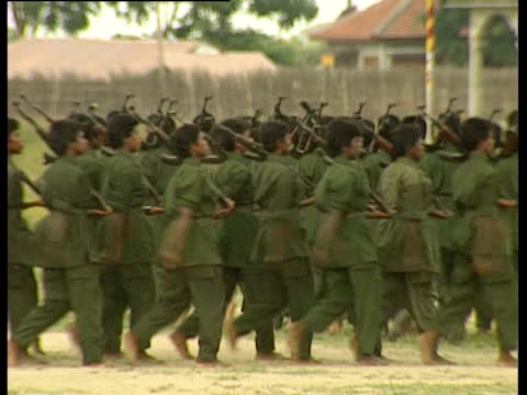 Tamil Tiger troops marching barefoot