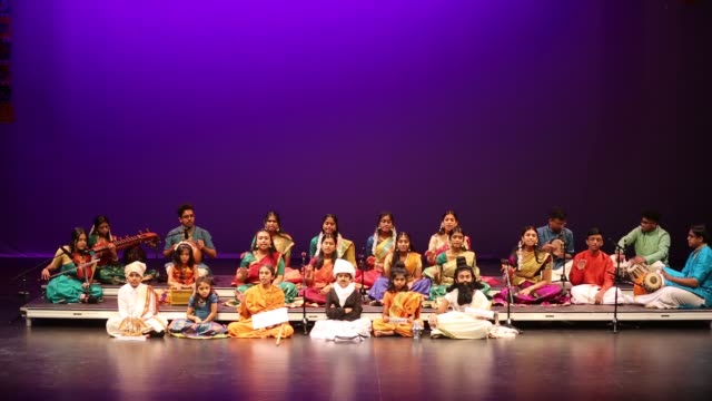 tamil youth perform a classical song celebrating tamil culture in the traditional carnatic style of music during a cultural program celebrating the... - harvest festival stock videos & royalty-free footage
