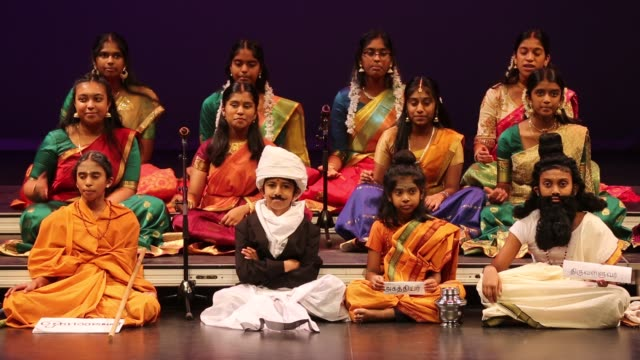 tamil youth perform a classical song showcasing tamil culture in the traditional carnatic style of music during a cultural program celebrating the... - harvest festival stock videos & royalty-free footage