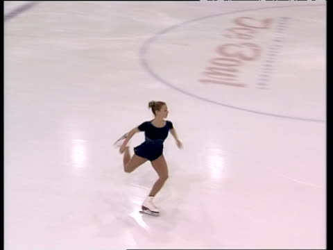 tammy sear continues short programme with double axel, british figure skating championships, belfast; nov 99 - figure skating stock videos & royalty-free footage