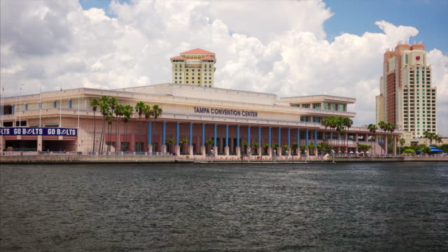 tampa convention center across the water in downtown tampa, florida - tampa convention center stock videos & royalty-free footage