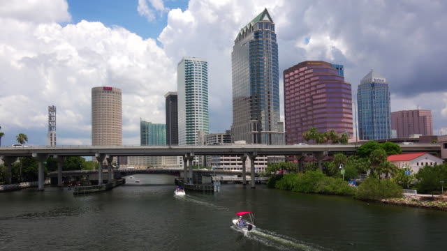 tampa, florida city skyline along waterfront in downtown - tampa stock videos & royalty-free footage