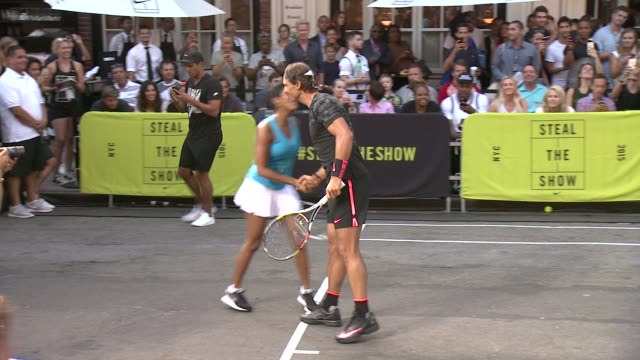 "tamron hall and rafael nadal at nike's ""nyc street tennis"" event at tbd on august 24, 2015 in new york city. - tamron hall stock videos & royalty-free footage"