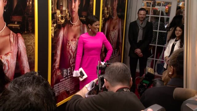 "tamron hall at ""belle"" new york premiere - arrivals at the paris theater on april 28, 2014 in new york city. - tamron hall stock videos & royalty-free footage"