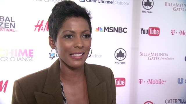 tamron hall discusses her appreciation for concert at 2015 global citizen concert at central park on september 26, 2015 in new york city. - tamron hall stock videos & royalty-free footage