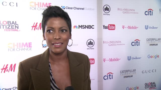 tamron hall discusses how she was involved the previous year with the event at 2015 global citizen concert at central park on september 26, 2015 in... - tamron hall stock videos & royalty-free footage