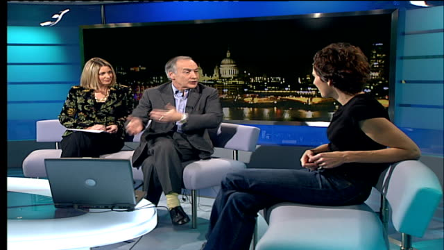 tamsin greig studio interview; england: london: gir: int tamsin greig in studio with sylvester and stewart sylvester sot - you tend to play crazy... - wisdom stock videos & royalty-free footage