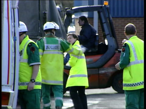 staffordshire tamworth ambulance arriving to join others at industrial estate where workers were overcome by fumes after chemical spill pan emergency... - good condition stock videos and b-roll footage