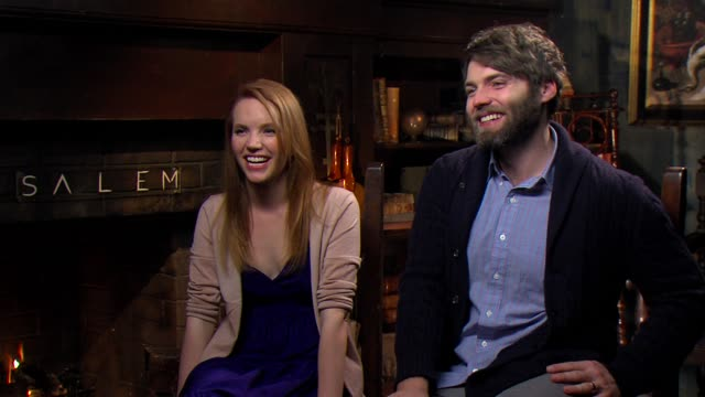 tamzin merchant & seth gabel on their characters, international women's day and female empowerment at the 'salem' press junket, shreveport, 03/08/15 - salem stock videos & royalty-free footage
