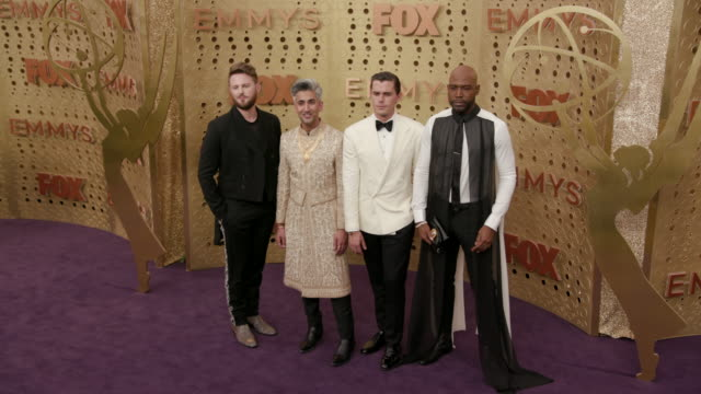vídeos de stock, filmes e b-roll de tan france, bobby berk, antoni porowski, and karamo brown at the 71st emmy awards - arrivals at microsoft theater on september 22, 2019 in los... - karamo brown