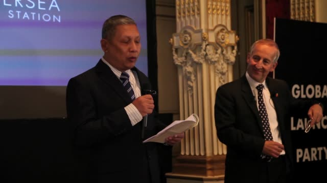 interview tan sri ismail omar speech at battersea power station global tour launch event in paris at the british embassy on october 29 2014 in paris... - バタシー発電所点の映像素材/bロール