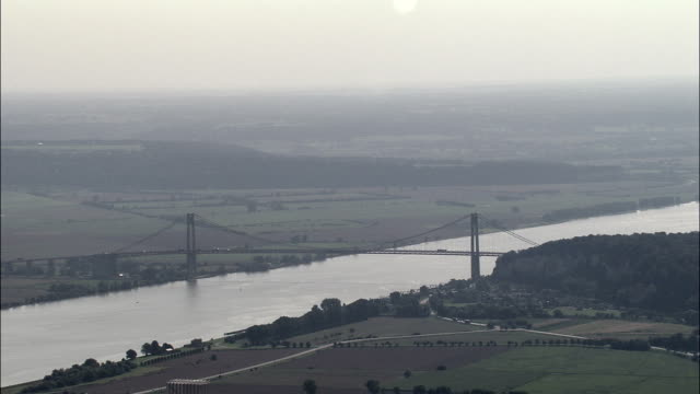 Tancarville Bridge  - Aerial View - Haute-Normandie, Seine-Maritime, France