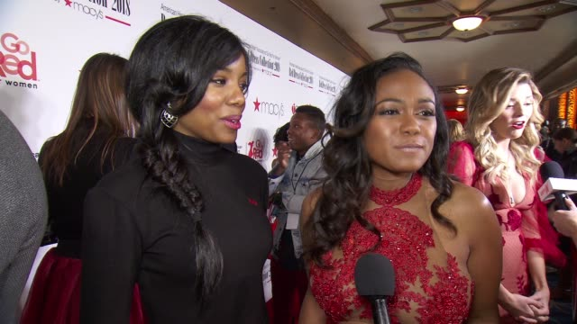 interview taneasha prunty tatyana ali on supporting the event and artists at the american heart association's go red for women red dress collection... - tatyana ali stock videos & royalty-free footage