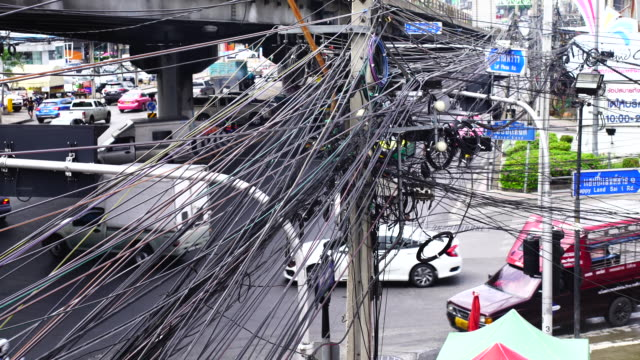 tangle of telephone, electric and cable wires - power line stock videos and b-roll footage