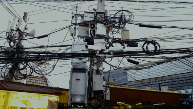 tangle of telephone, electric, box and cable wires - grid pattern stock videos and b-roll footage