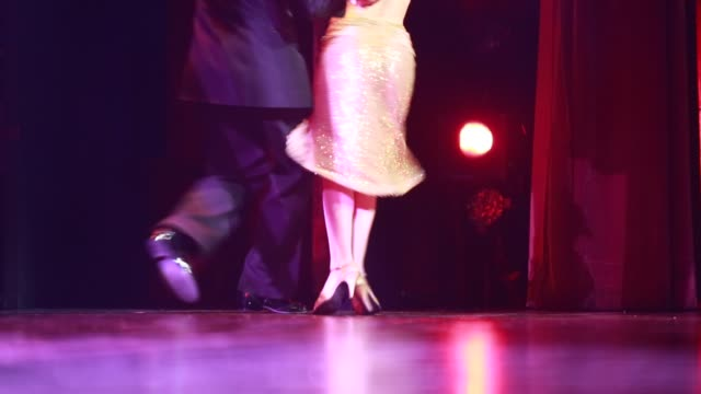 tango dancers during the show tango porteno in buenos aires argentina they eyes of the female dancer are covered the video starts out of focus and... - tangoing stock videos & royalty-free footage