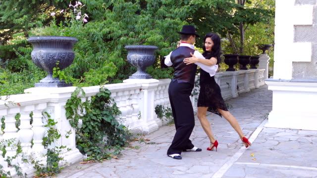 tango in the park on the terrace - tangoing stock videos & royalty-free footage