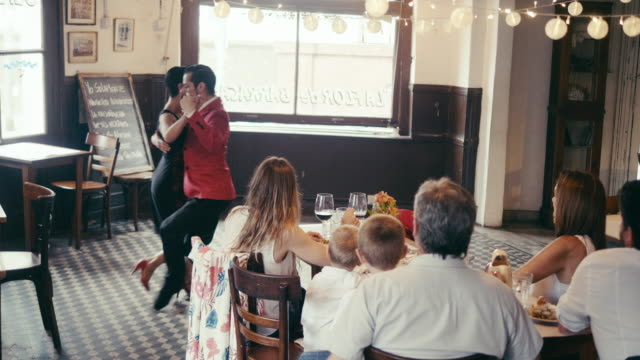 tango show in local argentinian restaurant - tangoing stock videos & royalty-free footage