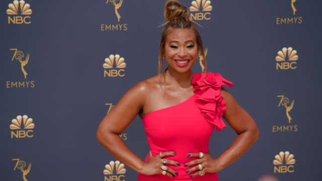 tanika ray at the 70th emmy awards arrivals at microsoft theater on september 17 2018 in los angeles california - 70th annual primetime emmy awards stock videos and b-roll footage