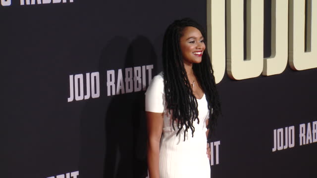 """tanisha long at the """"jojo rabbit"""" los angeles premiere presented by fox searchlight pictures in los angeles ca - fox searchlight pictures stock videos & royalty-free footage"""