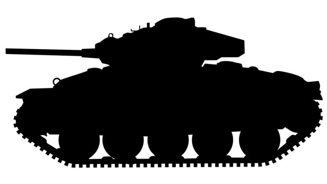tank animation silhouette (loopable) - military land vehicle stock videos & royalty-free footage