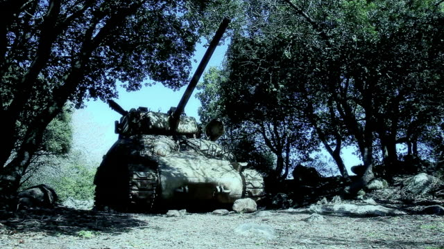 tank-top in den wald - kampfpanzer stock-videos und b-roll-filmmaterial
