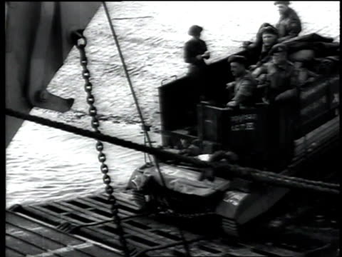 tank is driven into landing craft tanks / united kingdom - 1944 stock videos & royalty-free footage