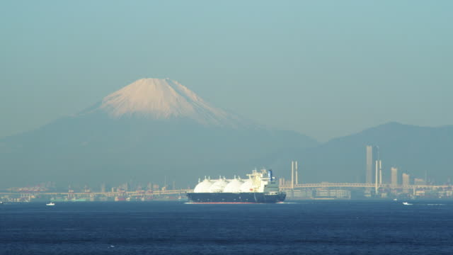 lng tanker and mt. fuji in japan - tanker stock videos & royalty-free footage