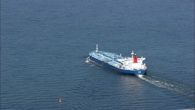 tanker by great belt bridge - aerial view - south denmark, nyborg kommune, denmark - belt stock videos & royalty-free footage