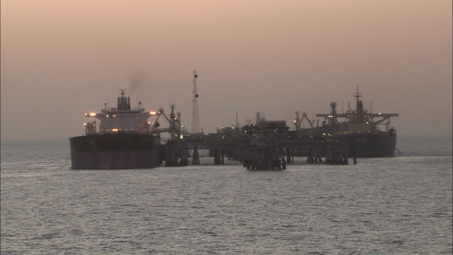 ws tanker ships at oil platform of iran / united arab emirates - iran stock videos and b-roll footage