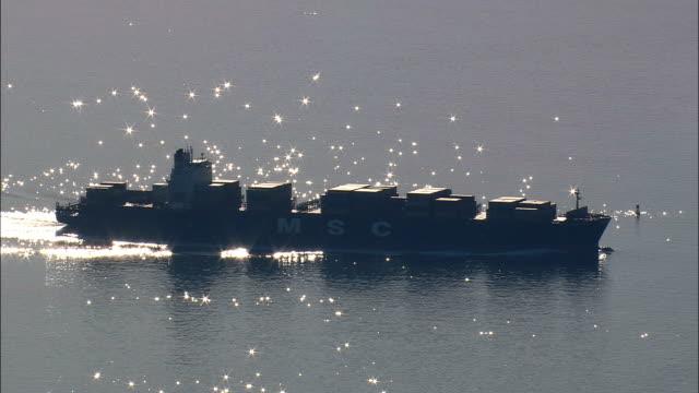 Tankers In Chesapeake Bay  - Aerial View - Virginia,  City of Virginia Beach,  United States