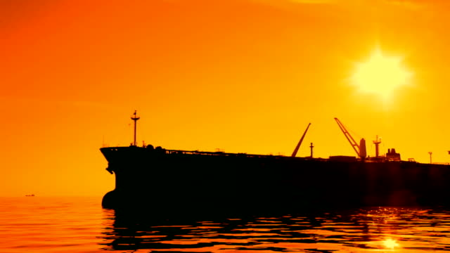 tankers in the sunset