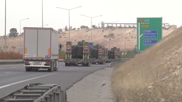 tanks and armoured vehicles are transported to silopi district of sirnak province in sanliurfa turkey on november 7 2016 the footage shows military a... - silopi stock videos and b-roll footage