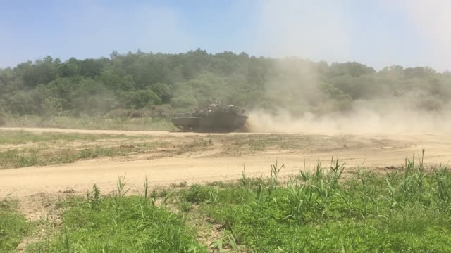 tanks from the 1st armored brigade combat team 3rd infantry division conduct live fire and dry gap crossing exercises at rodriguez live fire complex... - infantry stock videos & royalty-free footage