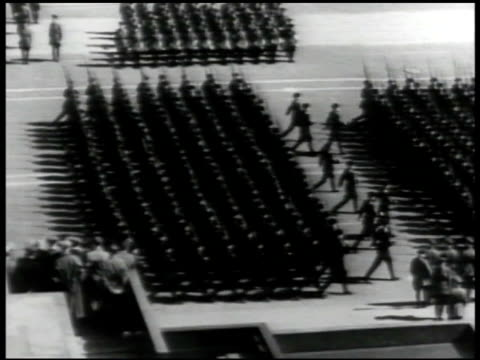 tanks moving on moskva river bridge russian soldiers marching in parade formation ms vyacheslav molotov joseph stalin watching russian soldiers... - vyacheslav m. molotov stock videos and b-roll footage