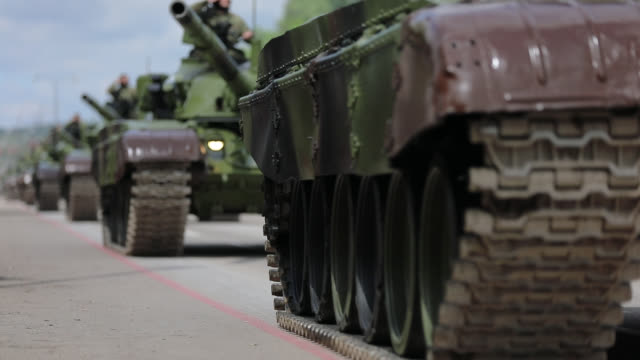 tanks on city streets - military land vehicle stock videos & royalty-free footage