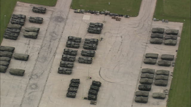 AERIAL Tanks parked at military base, Thuringia, Germany