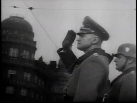 tanks proceeding down street / nazi saluting / tanks going down street / airplanes flying in formation / nazi tank - czech republic stock videos & royalty-free footage