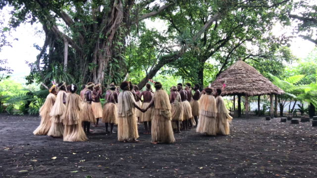 vídeos de stock e filmes b-roll de tanna island rainforest vanuatu indigenous tribe community dancing 4k video - cultura polinésia