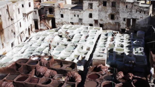 tannery pits in morocco - durevolezza video stock e b–roll