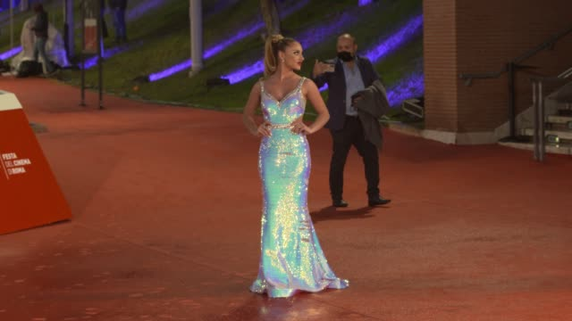 """tanya la gatta attends the red carpet of the movie """"supernova"""" during the 15th rome film festival on october 16, 2020 in rome, italy. - rome film festival stock videos & royalty-free footage"""