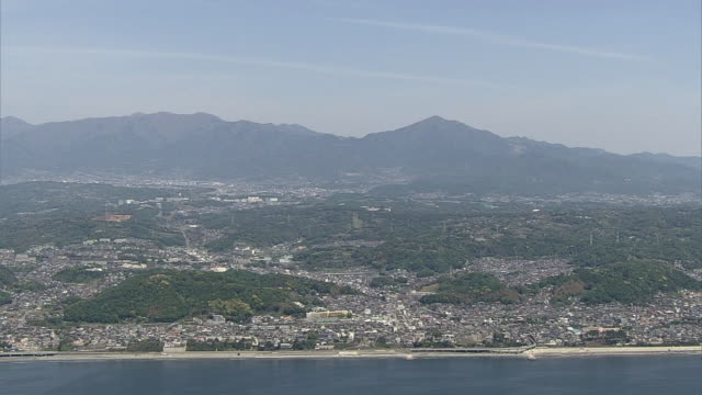 aerial, tanzawa mountains and towns in kanagawa, japan - kanagawa prefecture stock videos and b-roll footage
