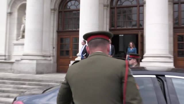 taoiseach leo varadkar meets the belgian prime minister charles michel at government buildings in dublin to discuss brexit and other key issues - leo varadkar stock videos and b-roll footage
