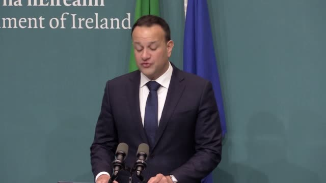 taoiseach leo varadkar says the withdrawal agreement represents compromise on both sides and the further text agreed yesterday eliminates doubt or... - leo varadkar stock videos and b-roll footage