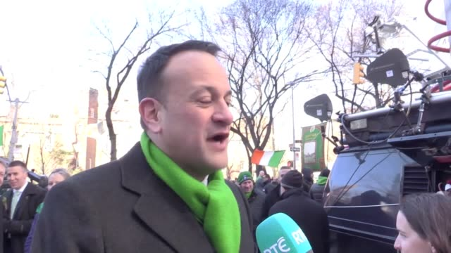 Taoiseach Leo Varadkar speaking after taking part in the parade with his partner Matt Barreet in New York