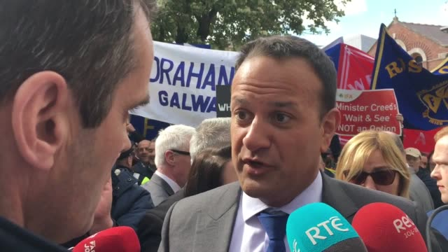 taoiseach leo varadkar was heckled by farmers demanding increased brexit supports for beef farmers as he arrived at cork city hall on wednesday ifa... - leo varadkar stock videos and b-roll footage