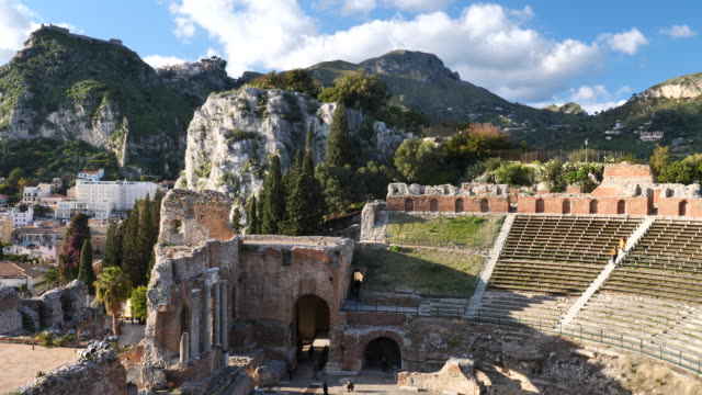 taormina old ruins of the theater - old ruin stock videos & royalty-free footage