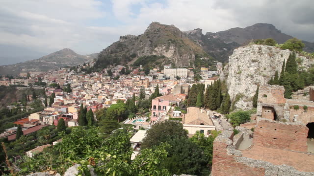Taormina, view of the city and the Greek Theater, 2nd century B.C.