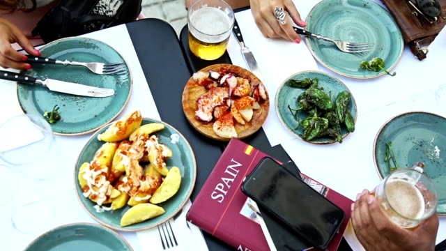 tapas in barcelona - barcelona spain stock videos & royalty-free footage
